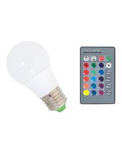 Bec Magic RGB cu LED Multicolor Controlat din Telecomanda, Dulie E27, Putere 3W