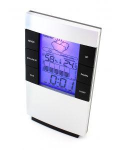 Statie Meteo Wireless Multifunctionala cu Afisaj LCD Iluminat, Ceas cu Alarma, Temperatura, Umiditate, Data