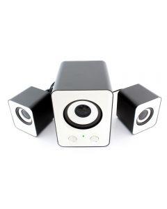 Sistem Audio 2.1, Putere 11W, 2 Boxe Stereo, Subwoofer, Alimentare USB pentru Laptop sau PC, Alb