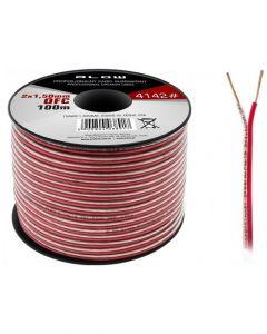 Cablu Audio Profesional pentru Difuzoare Auto, Lungime 100m, 2x1.50mm, Negru + Rosu