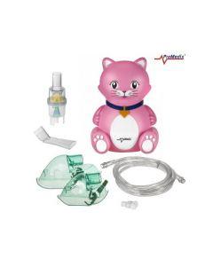 Aparat de Aerosoli Inhalator - Nebulizator cu Compresor pentru Copii si Adulti, Forma de Pisica + Accesorii Complete