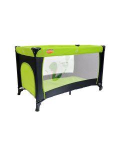 Patut Pliabil Portabil pentru Copii cu Intrare Laterala si Roti + Saltea si Plasa Insecte, Culoare Verde