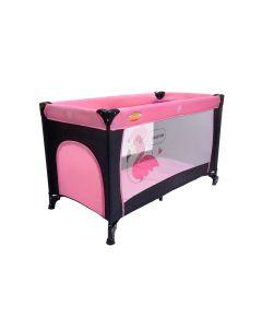 Patut Pliabil Portabil pentru Copii cu Intrare Laterala si Roti + Saltea si Plasa Insecte, Culoare Roz