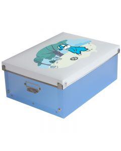 Cutie pentru organizare si depozitare obiecte mici, cosmetice, fotografii sau suveniruri, Culoare Albastru