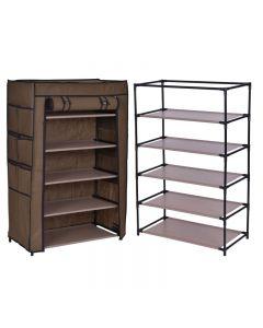 Dulap raft textil pentru depozitare incaltaminte, imbracaminte sau accesorii, 5 nivele, 12 buzunare laterale, culoare Cafeniu