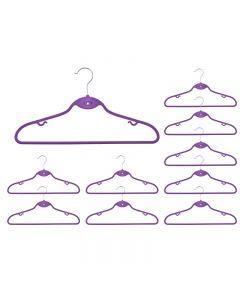 Set 10x Umerase din Plastic Acoperite cu Velur pentru Haine, Culoare Violet