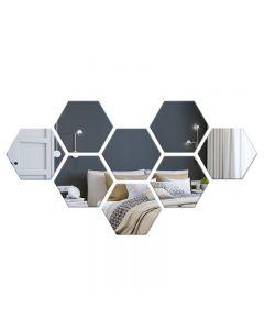 Set Oglinda Decorativa Acrilica din 8 Bucati Hexagonale, Culoare Argintiu
