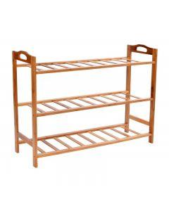 Raft din Bambus pentru depozitare incaltaminte, 9-10 perechi, 3 nivele, dimensiuni 51x68.5 cm