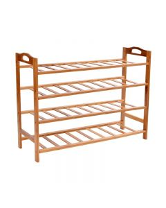 Raft din Bambus pentru depozitare incaltaminte, 12 perechi, 4 nivele, dimensiuni 67.5x68.5 cm