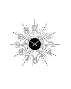 Ceas de Perete 3D Elegant CLASSIC, Diametru 50cm, Culoare Negru – Argintiu