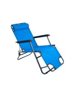 Scaun tip Sezlong Pliabil si Reglabil cu Tetiera pentru Gradina sau Terasa, Culoare Albastru