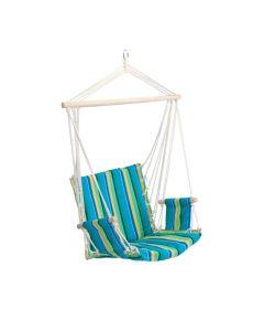 Hamac Brazilian tip Scaun Fotoliu pentru Casa, Curte sau Gradina, Capacitate 120kg, Culoare Albastru/Verde