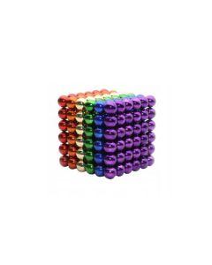 Joc Puzzle Antistres NeoCube cu 216 Bile Magnetice Multicolore, Diametru 5mm