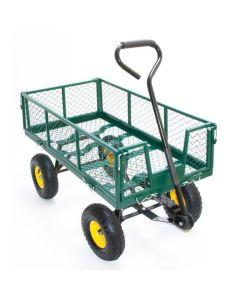 Carucior Metalic Transport Manual pentru Gradina sau Curte, Maner, 4 Roti, Capacitate 400kg