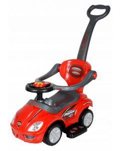 Masinuta Multifunctionala 3-in-1 pentru Copii cu Volan Interactiv cu Sunete si Claxon, Maner Parental, Culoare Rosu