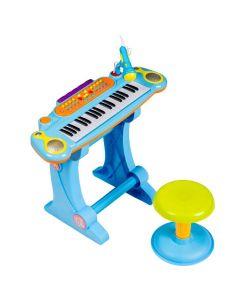 Set Orga 37 Clape pentru Copii cu Stativ, Scaunel si Microfon, Culoare Albastru