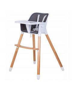 Scaun inalt multifunctional pentru copii 2in1, picioare reglabile, masa detasabila, culoare alb/gri