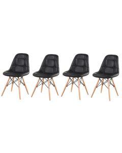 Set 4 x scaun Tapitat NEW YORK cu Piele Ecologica in Stil Scandinav pentru Salon, Bucatarie, Sufragerie sau Terasa, Culoare Negru