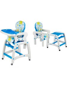 Scaun inalt de masa pentru copii 2in1, cu roti si spatar reglabil, culoare alb/albastru