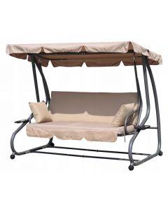 Balansoar cu umbrela, perinite si spatar rabatabil, 3 locuri, pentru gradina sau terasa, culoare bej