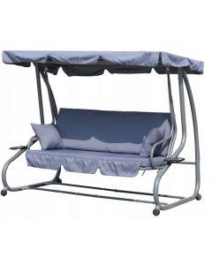 Balansoar  cu umbrela, perinite si spatar rabatabil, 3 locuri,pentru gradina sau terasa, culoare gri