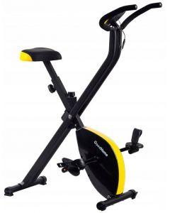 Bicicleta pentru Fitness Reglabila, Pliabila cu Afisare LCD Diferite Valori, Capacitate 120kg, Culoare Negru/Galben