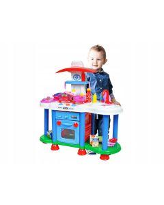 Set bucatarie mare cu efecte sonore pentru copii + accesorii bucatarie, dimensiuni 70x70 cm XL