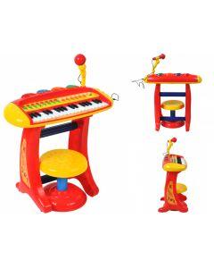 Set Orga pentru Copii cu Stativ, Scaunel si Microfon, Culoare Rosu
