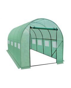 Solar Sera pentru Gradina cu Ferestre Laterale, Folie Transparenta si Cadru Metalic, Dimensiuni 4,5x2x2m