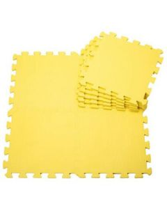Covoras Tip Puzzle pentru Copii, 4 Piese din Spuma Moale, Culoare Galben, Dimensiuni 122x122cm
