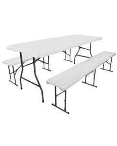 Set mobilier pentru curte sau gradina pliabil masa 180cm + 2 banci, culoare Gri