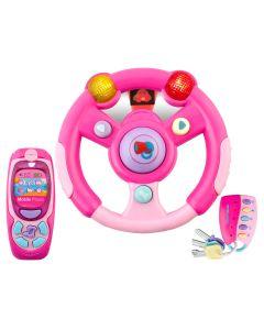 Set interactiv pentru copii, volan cu redare sunete, telefon si telecomanda cu chei