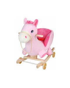 Calut Balansoar Mobil cu Scaun din Plus pentru Copii cu Sunete, Culoare Roz