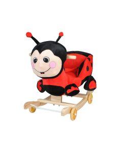Mamaruta Balansoar Mobil cu Scaun din Plus pentru Copii cu Sunete, Culoare Rosu-Negru
