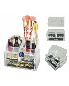 Suport Organizator Transparent pentru Cosmetice si Bijuteri, 9 Compartimente, 3 Sertare