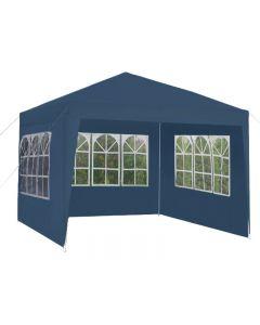 Cort Pavilion pentru Gradina, Curte sau Evenimente, Dimensiuni 3x3m cu 3 Pereti Laterali, Culoare Bleumarin