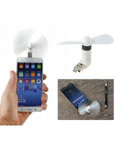 Mini ventilator portabil pentru telefon sau tableta cu port USB si Micro USB
