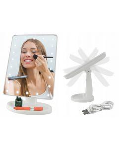 Oglinda Cosmetica cu Iluminare LED, Unghi de Inclinare la 180 Grade si Cablu USB