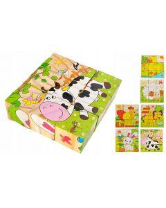 Set 6 in 1 cuburi Puzzle din lemn pentru copii, 6 imagini