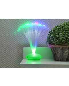 Veioza Decorativa cu Fibra Optica LED Multicolor, 8 Moduri Iluminare, Baza Verde