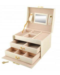 Cutie Eleganta pentru Bijuterii, Ceasuri sau Accesorii, 20 de Compartimente, Oglinda si Inchidere cu Cheie, Culoare Bej