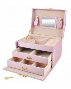 Cutie Eleganta pentru Bijuterii, Ceasuri sau Accesorii, 20 de Compartimente, Oglinda si Inchidere cu Cheie, Culoare Roz