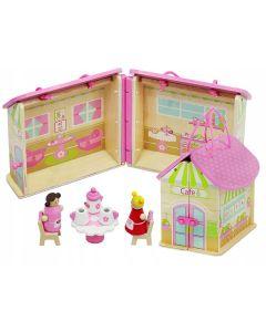 Set cafenea pliabila portabila + papusi si accesorii pentru copii