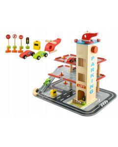 Set Joc pentru Copii Pista din Lemn tip Parcare cu Lift pe Etaje + Elicopter, Masinute si Accesorii
