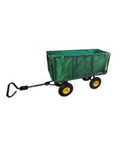 Carucior Metalic Transport Manual pentru Gradina sau Curte, Maner si Husa Detasabila, 4 Roti, Capacitate 350kg, Volum 227L