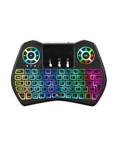 Mini Tastatura QWERTY Wireless Iluminata LED RGB pentru PC, Laptop, Tableta, Xbox, Smart TV, Play Station, Raza 10m