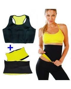 Set Fitness Bustiera + Centura Hot Shapers din Neopren pentru Slabit si Modelare Corporala, Marimea L