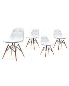 Set 4x Scaune Moderne pentru Bucatarie, Living, Sufragerie sau Exterior, Model C-400, Culoare Alb