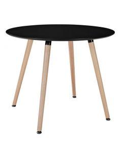 Masuta rotunda MDF moderna cu 4 picioare, culoare negru, diametru 100cm