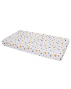 Cearceaf din bumbac cu elastic Stars Yellow and Grey pe alb 120x60 cm
